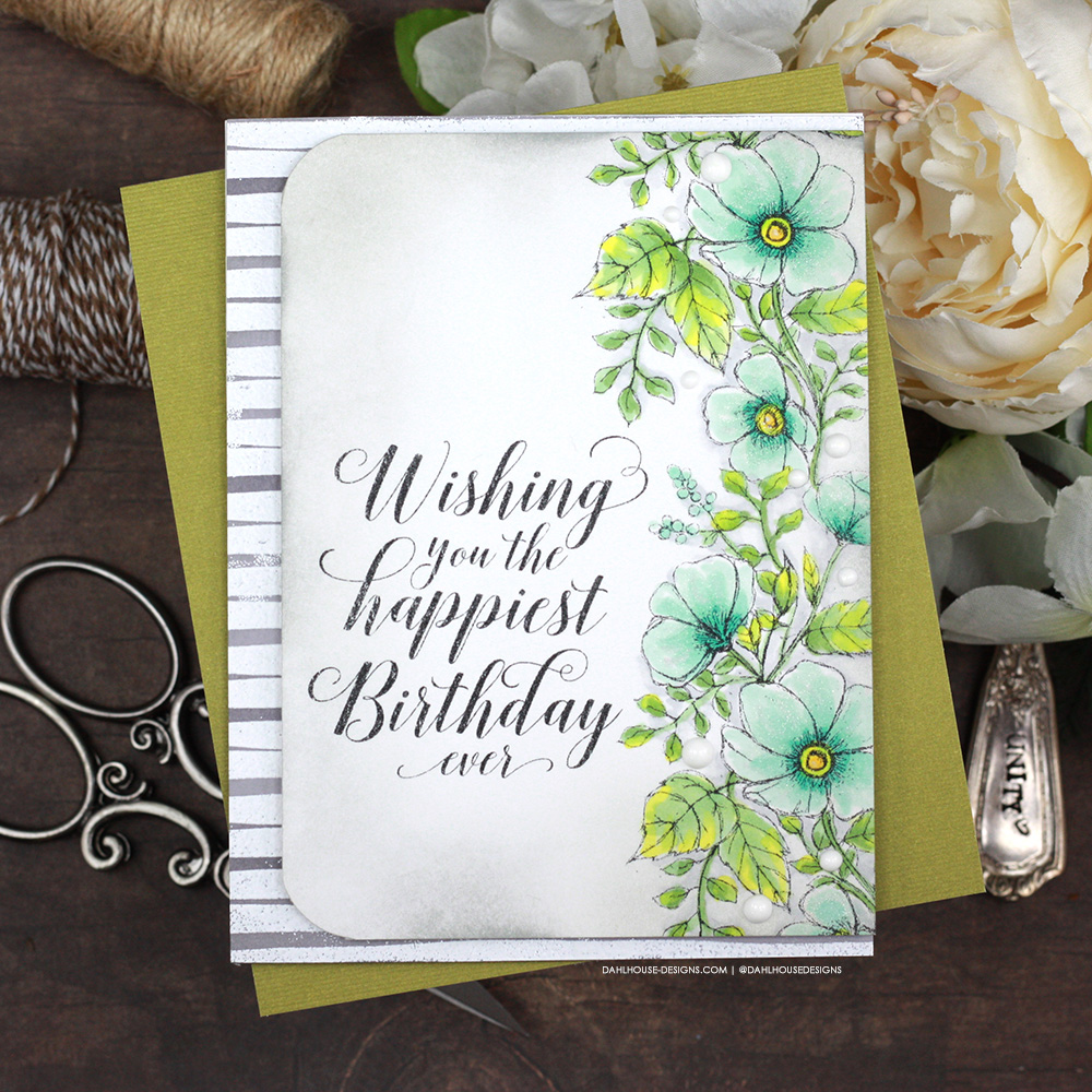 Sharing two birthday card ideas with a tutorial & quick video. Playing with alcohol markers and background stamp techniques. The images are from The Happiest Wishes, Margaret Girl and From this Day Forward Unity Stamp Company stamp sets. More inspiration on dahlhouse-designs.com. #ad #cardmaker #cardmakingideas #cardinspiration #simplecards #rubberstamps #dahlhousedesigns #unitystampco #handmadecards #carddesign #craftersgonnacraft #papercrafting #papercrafts #birthdaycard