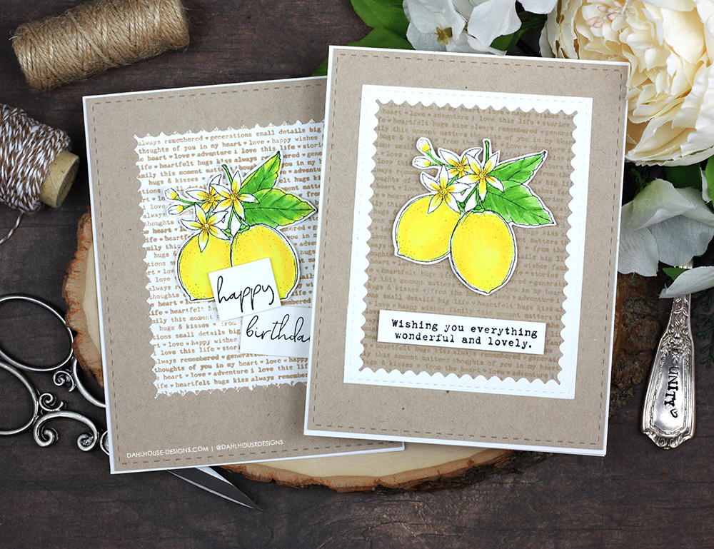 Sharing two quick and easy card ideas with a tutorial & short video. Techniques include die cutting, alcohol marker coloring and stamping. The images are from the Fresh Lemonade Unity Stamp Company stamp set. More inspiration on dahlhouse-designs.com. #ad #cardmaker #cardmakingideas #cardinspiration #simplecards #rubberstamps #dahlhousedesigns #unitystampco #handmadecards #carddesign #craftersgonnacraft #papercrafting #papercrafts #birthdaycard #cleanandsimple #CAS