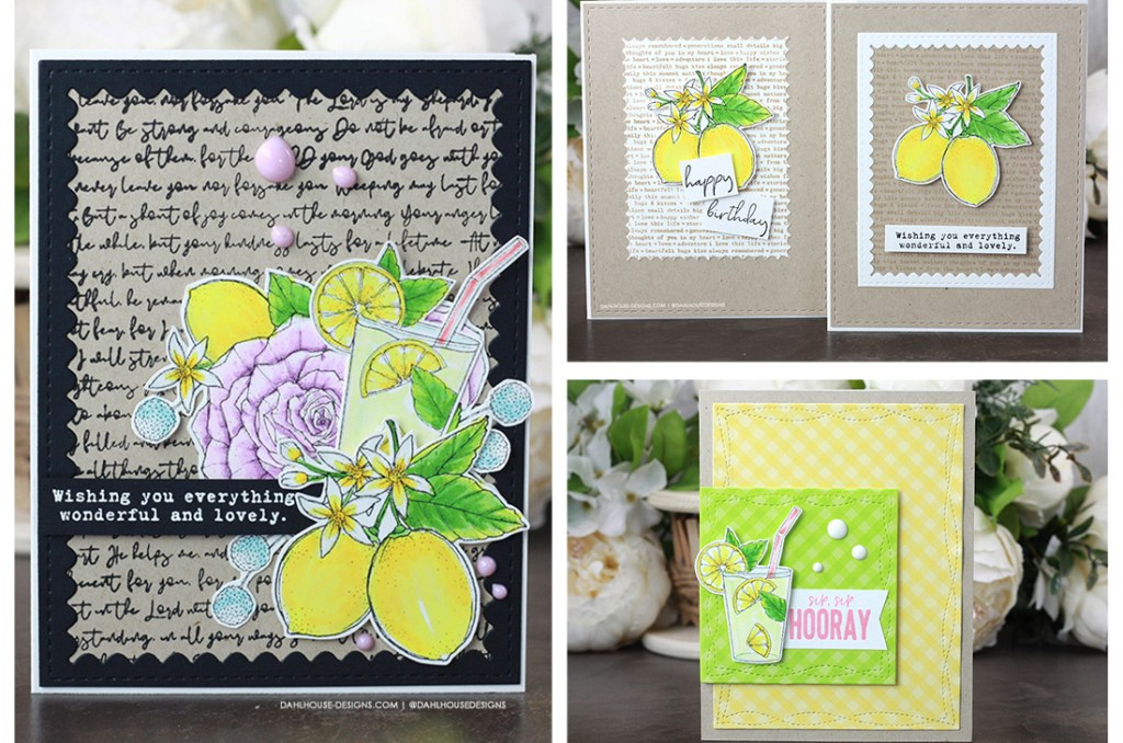 Sharing a simple and cute card idea with a tutorial & quick video. The images are from the Fresh Lemonade Unity Stamp Company stamp set and colored with alcohol markers. More inspiration on dahlhouse-designs.com. #ad #cardmaker #cardmakingideas #cardinspiration #simplecards #rubberstamps #dahlhousedesigns #unitystampco #handmadecards #carddesign #craftersgonnacraft #papercrafting #papercrafts #birthdaycard #cleanandsimple #CAS