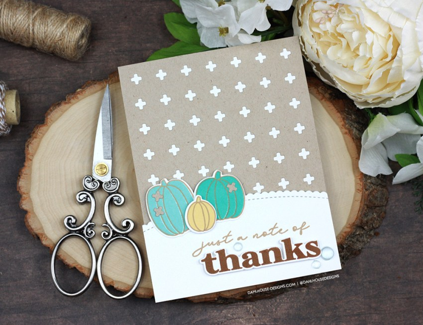Sharing two simple and cute pumpkin season card ideas with a tutorial & quick videos. The images are from the Pumpkin Season Ellen Hutson stamp set and Nordic Cross Cover die. More inspiration on dahlhouse-designs.com. #cardmaker #cardmakingideas #cardinspiration #simplecards #rubberstamps #dahlhousedesigns #ellenhutson #ad #handmadecards #carddesign #craftersgonnacraft #papercrafting #papercrafts #pumpkinseason #pumpkins #thankyoucard #thanks #ginakdesigns