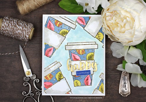 Sharing a simple fall coffee cup birthday card idea with a tutorial & quick video. The images are from the Warm Fall Hug Unity Stamp Company stamp set. More inspiration on dahlhouse-designs.com. #cardmaker #cardmakingideas #cardinspiration #simplecards #rubberstamps #dahlhousedesigns #unitystampco #ad #handmadecards #carddesign #craftersgonnacraft #papercrafting #papercrafts #shortandsweetvideo #coffeecup #coffeehugs #coffeebirthday #birthday
