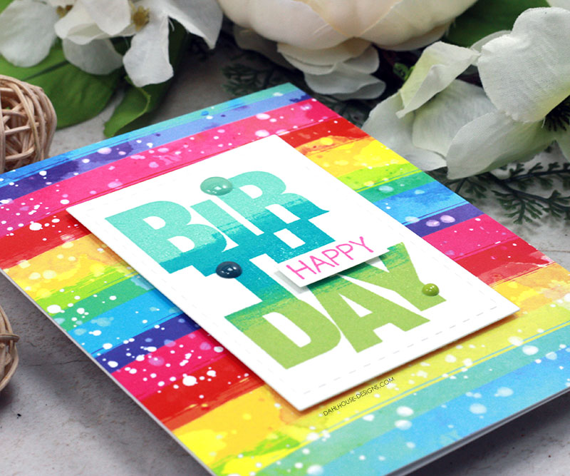 Sharing a rainbow sentiment birthday card idea with a tutorial and quick video. The images are from the Say It Big Unity Stamp Company stamp set. More inspiration on dahlhouse-designs.com. #ad #cardmaker #cardmakingideas #cardinspiration #simplecards #rubberstamps #dahlhousedesigns #unitystampco #handmadecards #carddesign #craftersgonnacraft #papercrafting #papercrafts #rainbow #birthdaycard
