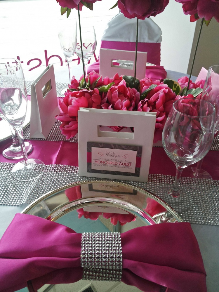 Pink White And Bling Table Dahlia Floral Design