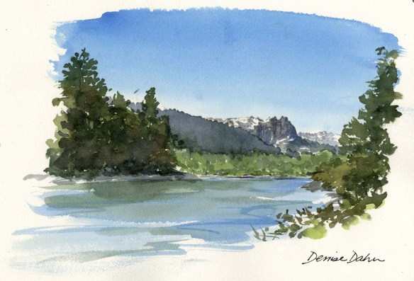 This sketch shows the Skykomish River, one of the last wild rivers in Washington State...close to where a new dam is planned.