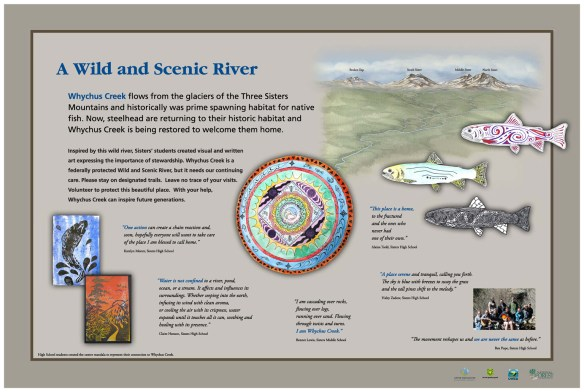 The basic design was done to coordinate with an earlier series of signs I did for the Upper Deschutes Watershed Council. Click on the sign for a larger view.
