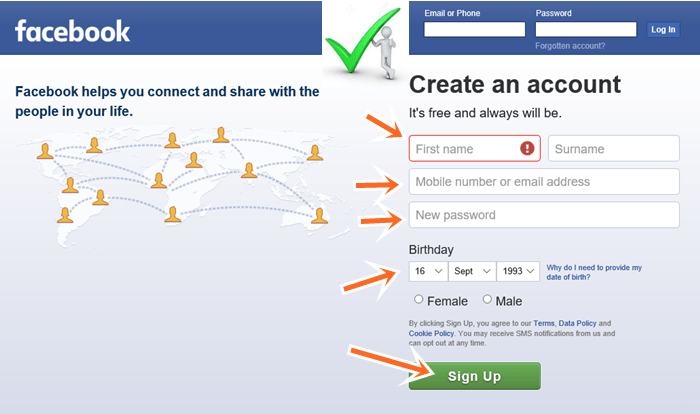 Facebook com log sing up in www Facebook login