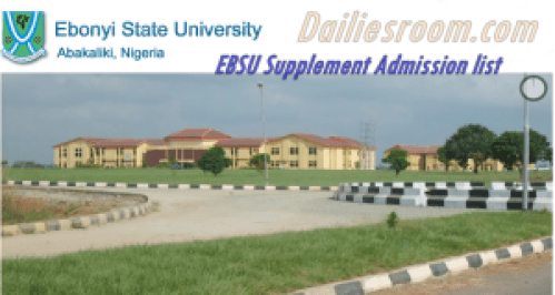 EBSU 2015/2016 Supplement Admission list out - Check Now