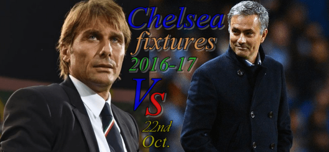 2016-17 Chelsea Premier League fixtures In Full