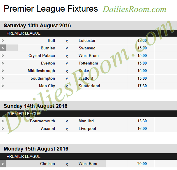 EPL Fixtures 2016/17 Date, Time and Table