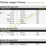EPL Fixtures 2016/17 Date, Time and Table – England Premier League