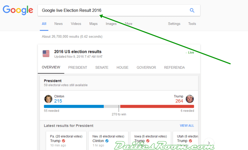 Google live Election Result 2016 - Check Live US Presidential Election update