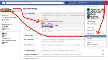 How to Enable Facebook Login Notifications - Facebook security