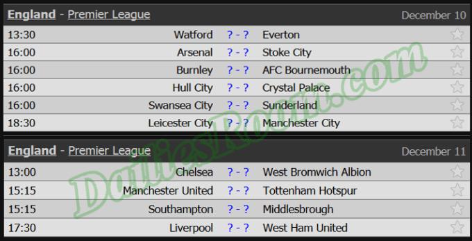 English Premier League fixtures schedule 2016/2017 - EPL Weekly Fixtures