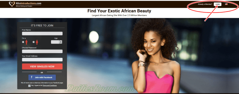 AfroIntroductions.com Registration | Afrointroductions sign up / login  With Facebook