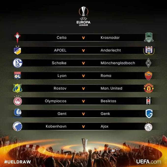 Full Europa League Last 16 Draws 2017 | Lyon vs Roma, Man United vs Russian club