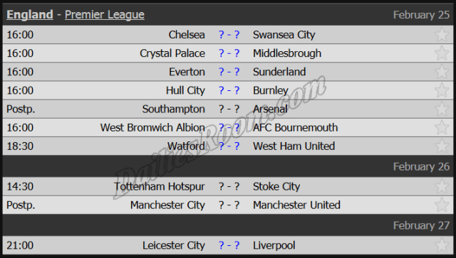 England - Premier League Round 26 Feb 25 - Feb 27