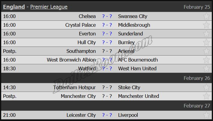 England - Premier League Round 26 Feb 25 - Feb 27