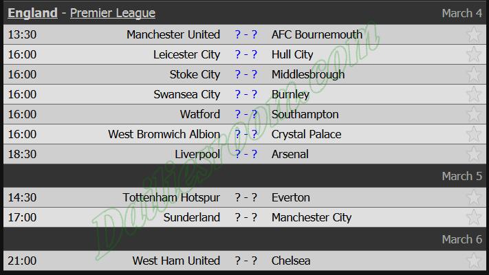 England - Premier League fixtures