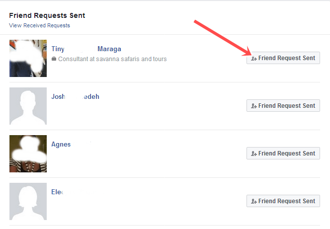 how to delete send friend request from fb