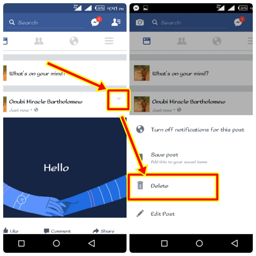 How To Delete Facebook Post On Android App