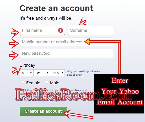 Create Facebook Account Free With Yahoo Mail Account
