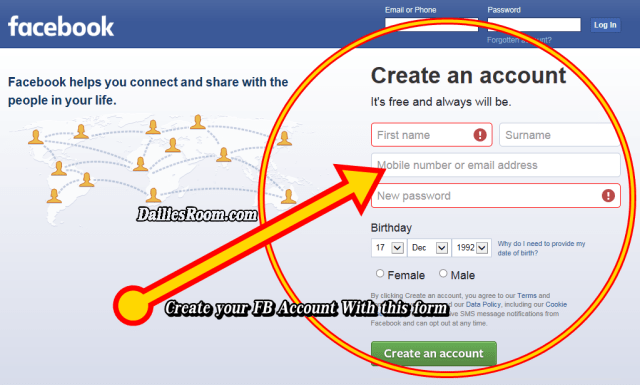 New Facebook Account Registration Form to SignUp FB.com Account using Gmail
