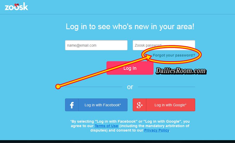 Zoosk login forgot password