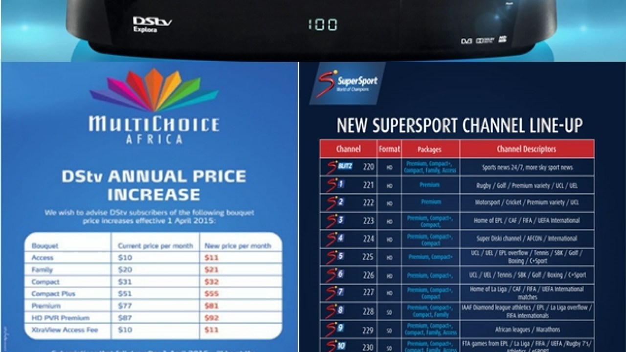 Dstv Subscription Prices 2018 Subscription Packages