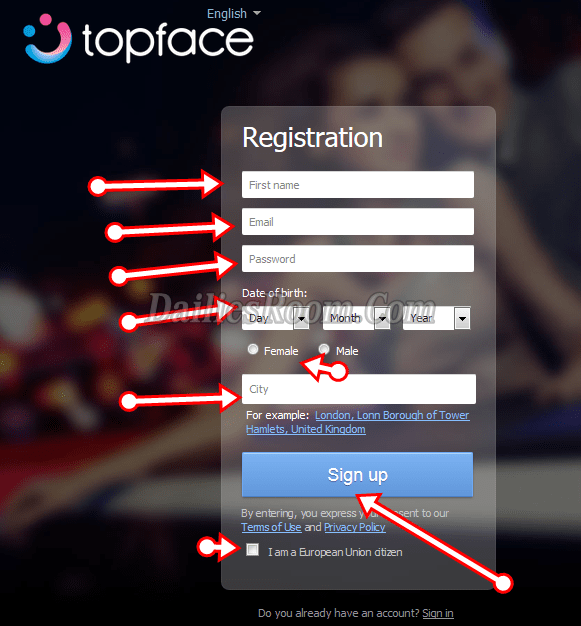 www.TOPFACE.com Registration / Topface Sign Up guide / Topface Login
