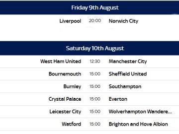 Full Premier League fixtures 2019-20 for UTD, City, Chelsea, Arsenal...