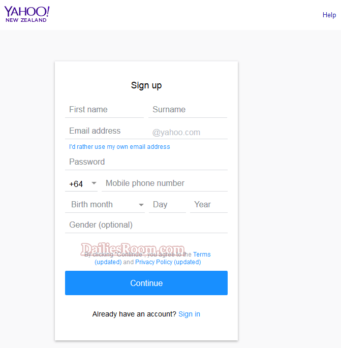 Yahoo Mail Registration Form - Learn How to create new Yahoo Mail account