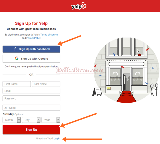 Yelp Account Sign Up Steps - Sign Up Yelp Account with Facebook