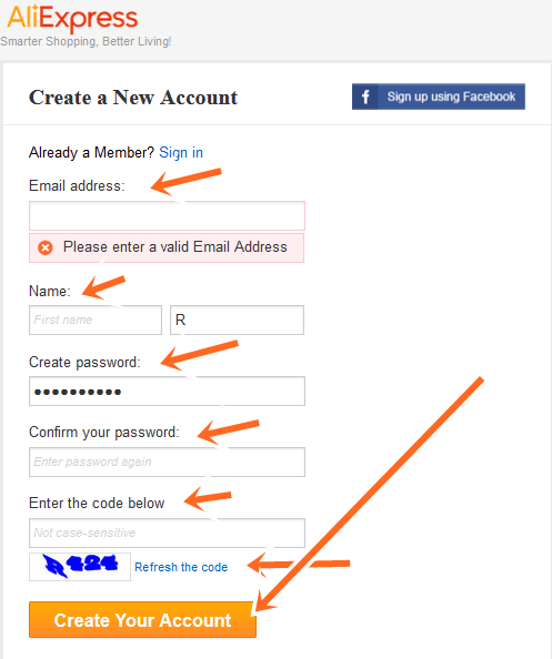 How to Create New AliExpress Account - AliExpress Sign Up Using Facebook