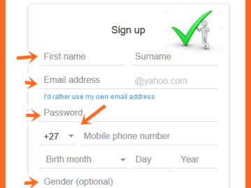 Yahoo Mail Sign Up New Account South Africa (+27) - https://za.yahoo.com