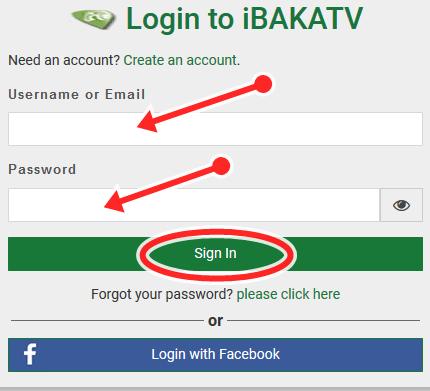 iBAKATV Member Sign In Portal: iBAKATV Facebook Login