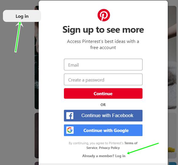 Pinterest Login With Facebook Account | Create Pinterest Via FB.com