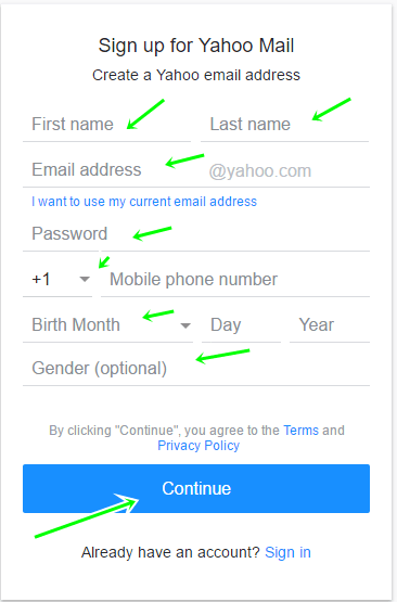 Create Yahoo Email Account for Free From Yahoo.com Sign In Page