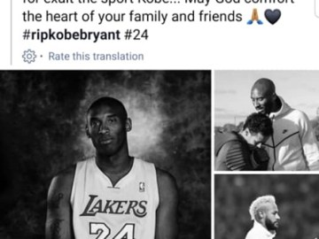 Celebrities Tribute To Kobe Bryant On Facebook