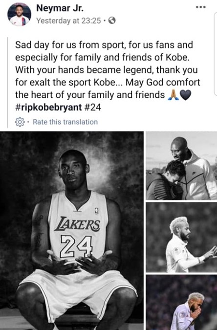 Top Celebrities Tribute To Kobe Bryant On Facebook & Other Medias