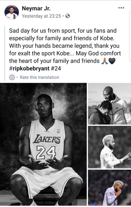 Celebrities Tribute To Kobe Bryant On Facebook