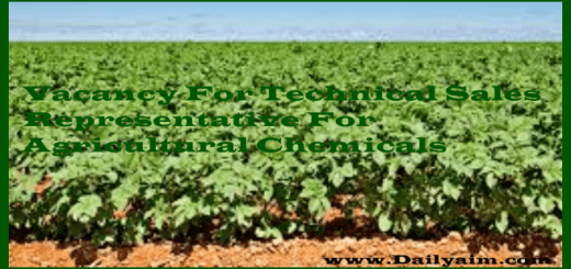 Vacancy For Technical Sales Representative for Agricultural Chemicals