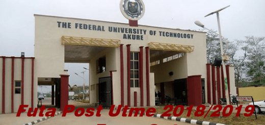 Futa Post Utme 2018/2019 Form Out