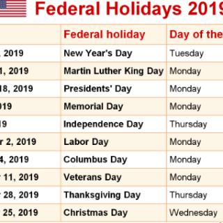 USA Up Coming Holidays