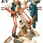 Saturday Evening Post - J.C. Leyendecker Uncle Sam Sawing Wood 1932