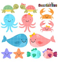 cute baby sea animals clip art set [ 2664 x 2670 Pixel ]