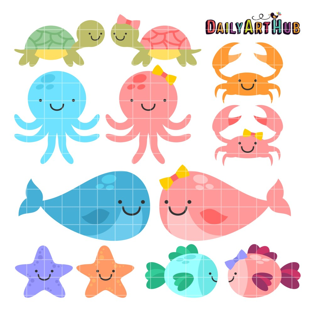 medium resolution of cute baby sea animals clip art set