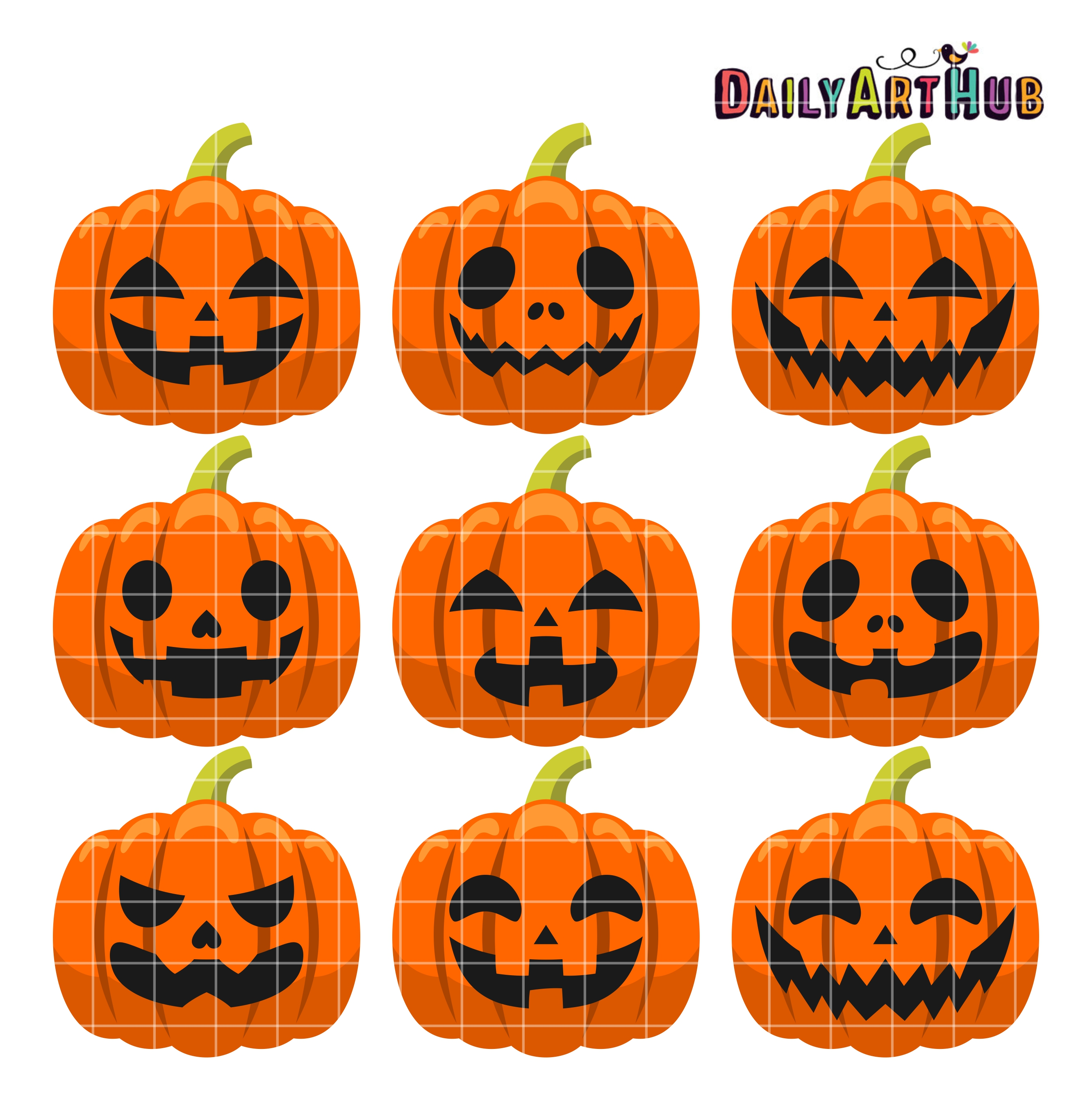 Halloween Pumpkin Heads Clip Art Set Daily Art Hub