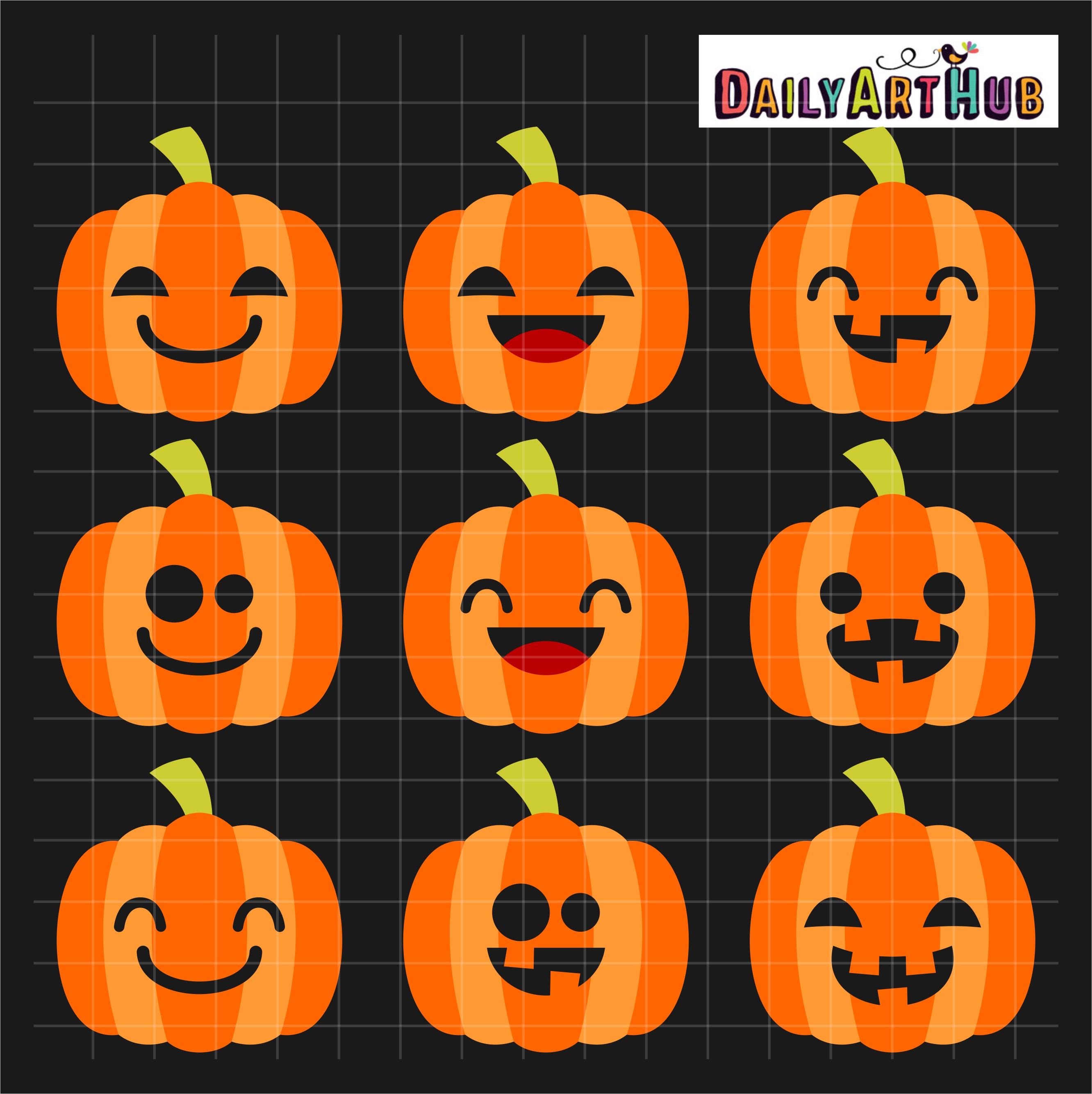 Halloween Cute Jack O Lanterns Clip Art Set Daily Art
