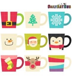 christmas coffee mugs clip art set [ 2664 x 2670 Pixel ]