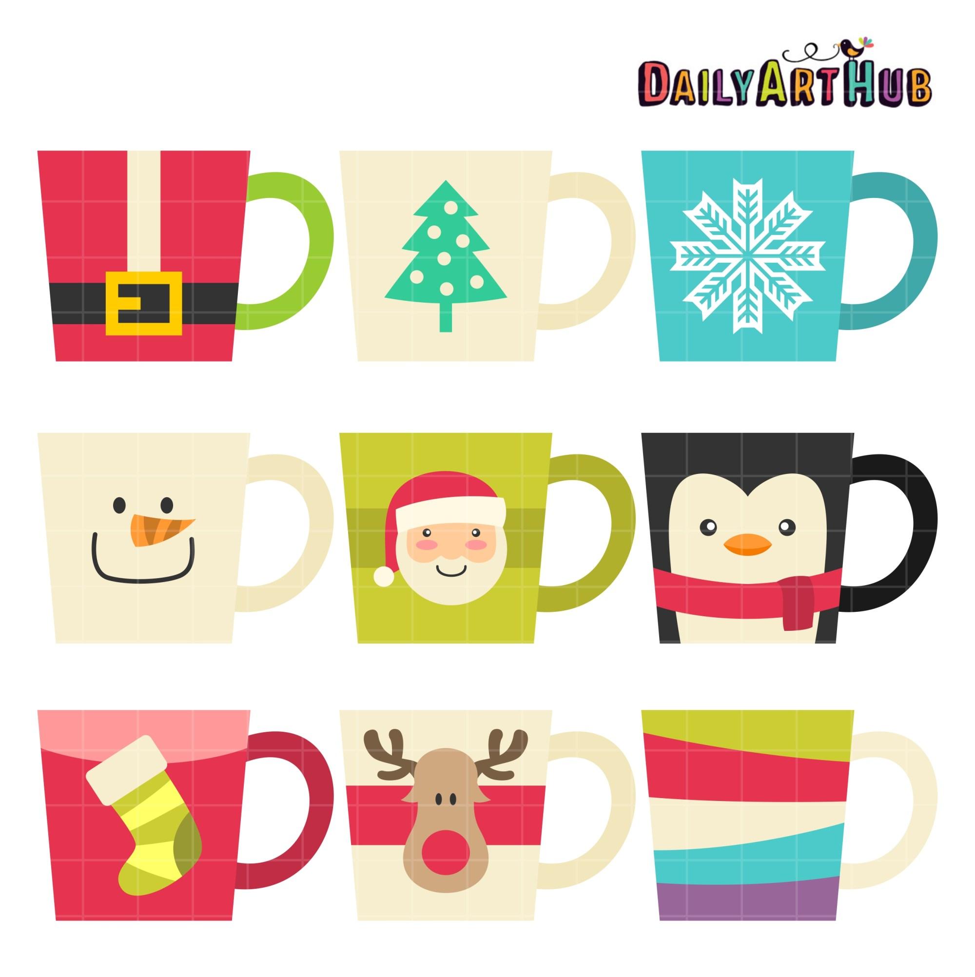 hight resolution of christmas coffee mugs clip art set
